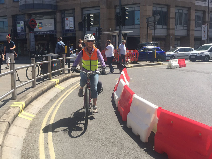 Hammersmith Broadway Temporary Cycle Lane